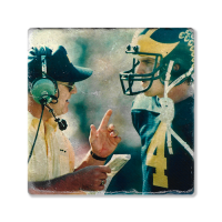 Second Story Bo Schembechler & Jim Harbaugh Stone Tile Coaster
