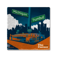 Second Story Corner of Trumbell & Michigan Stone Tile Coaster