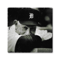 Second Story Sparky Anderson Black & White Stone Tile Coaster