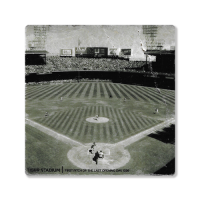 Second Story Tigers Stadium 1999 Final Opening Day Black & White Stone Tile Coaster