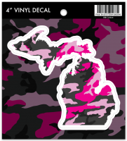 MI Culture Pink Camo Michigan Vinyl Decal