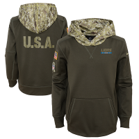 Nike Detroit Lions Youth Cargo Khaki 2017 Salute to Service Thermal Hoodie